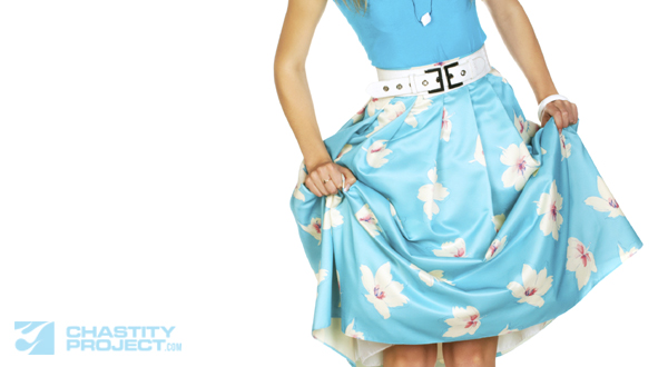 Pinup girl pulled up her skirt. Isolated on the white, blanck space for the text